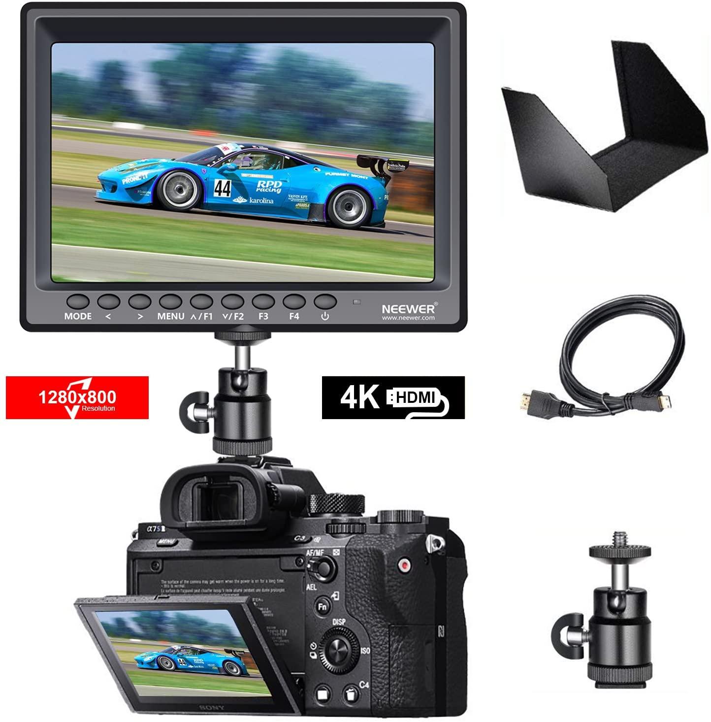Neewer F100 7インチ 1280x800 IPSスクリーンカメラフィールドモニター 4K入力 BMPCC用ミニHDMIケーブル、FPV用AVケーブル付 16:10 4:3調整可能な表示比率(