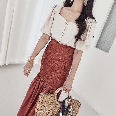 ブルランチョスクエア・ネックラインブラウスbl01502 ソリッドシャツ/ブラウス/ 韓国ファッション