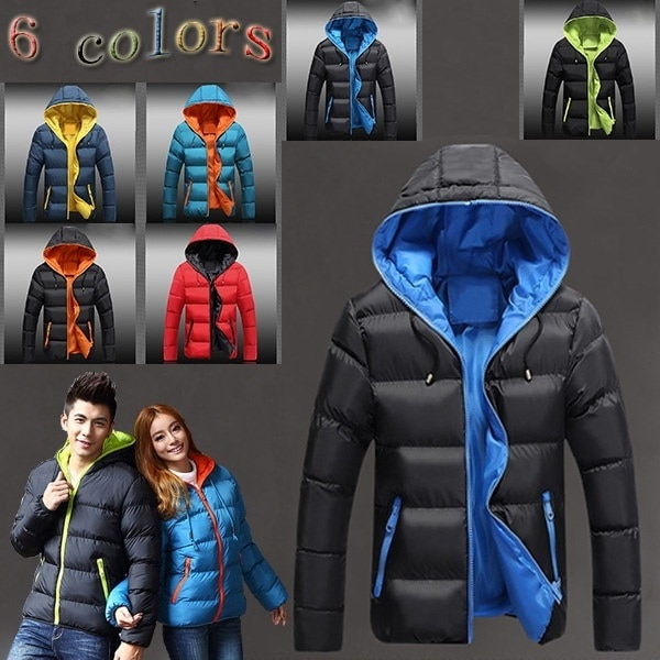 6色の冬のジャケットメンズ・レディース暖かいダウンジャケットカジュアルパーカー男性のパッド入りの冬のジャケットカジュアルハンサム冬のコート男性の恋人ファッション/黒赤青