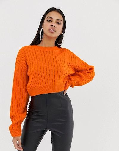 プリティリトルシング レディース ニット・セーター アウター PrettyLittleThing Ribbed Cropped Knitted Sweater in orange