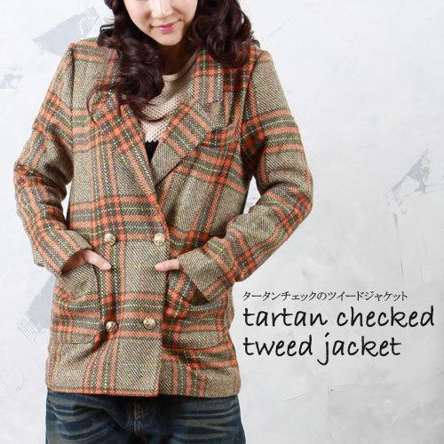 トラッド感たっぷり!タータンチェックのツイードジャケットコート