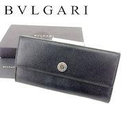 7c4bcea09205 ブルガリ BVLGARI 長財布 財布 ファスナー付き レディース メンズ 可 ロゴボタン ブラック シルバー レザー 人気