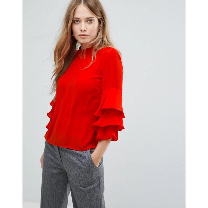 ウェアハウス レディース トップス【Warehouse Tiered Sleeve Top】Bright red