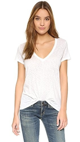 David Lerner Womens Super Deep V Neck Tee, White, Small