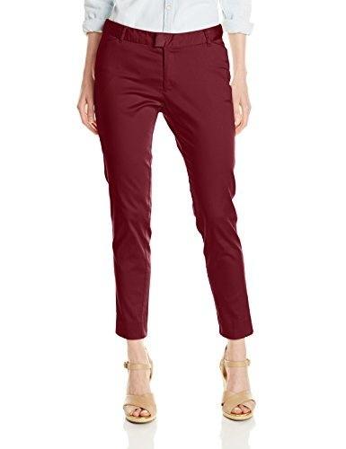 Dockers Womens Petite Essential Slim Leg Classic Clean Fit Pant, Merlot, 12 Petite