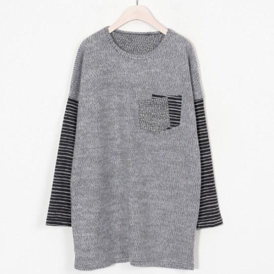 ウィスィモールMN配色ポケットニットティーY711M ニット/セーター/ニット/韓国ファッション