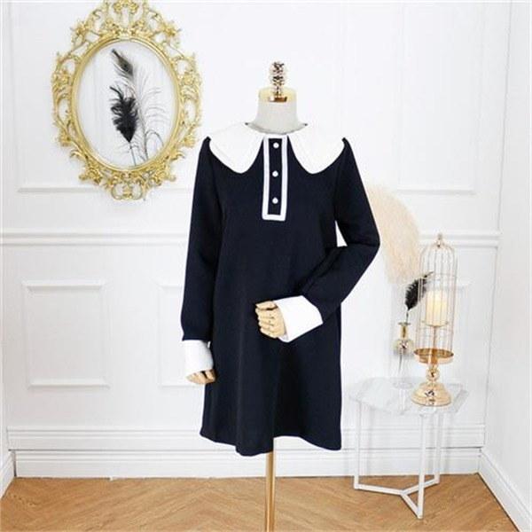 ダブルカラー配色ワンピースnew フレアワンピース/ワンピース/韓国ファッション