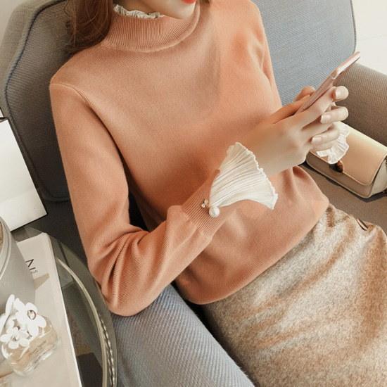 【オーサム】アレンシフォン重ね着ニット_234071 ニット/セーター/ニット/韓国ファッション