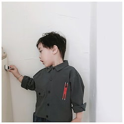 c1db47a15c0dd シャツ 長袖 刺繍 ポケット 子供服 キッズウェア 男の子 女の子 かっこいい 80cm 90cm 100cm 110cm 120cm