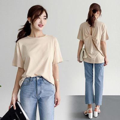 るみさんねじりベクポインスリットティーシャツ ティーシャツ / ソリッド/無知ティーシャツ / 韓国ファッション