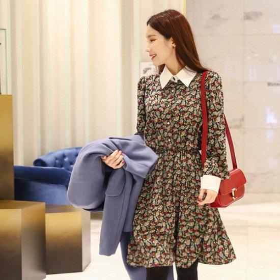ジェイ・スタイルビックサイズトゥロビのキュービックフローラルワンピース 綿ワンピース/ 韓国ファッション