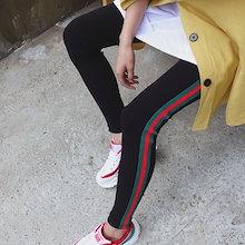 モチモチスパン配色レギンスパンツ♥ 穿くだけで長い脚に見せるスリムなスキニーフィット~♪ 長時間穿いてもとても楽ちん★