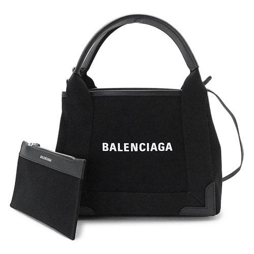 バレンシアガ ハンドバッグ 390346 AQ38N 1000 レディース 2WAY バッグ ショルダーバッグ キャンバス ブラック 黒 BALENCIAGA NAVY CABAS XS BLACK