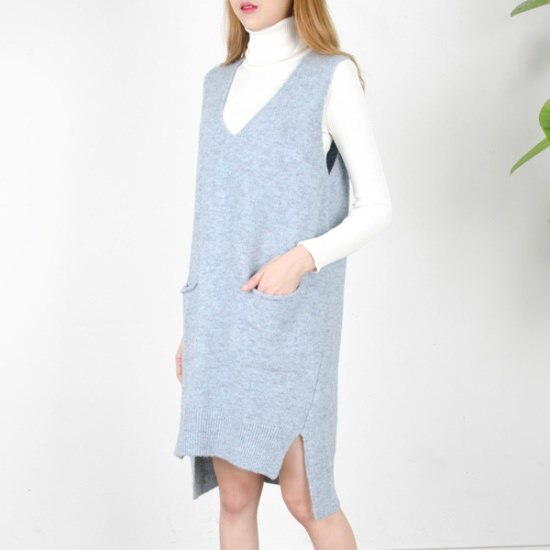 [クッキーセブン] P5998ウール混テュフラインポケットオンバルロングベスト(5color) ベセチュウ / ニット・ベスト/ 韓国ファッション