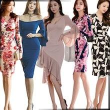 「 09/21 新作追加 Special Offer」♥高品質♥韓国ファッション♥OL、正式な場合、礼装ドレス♥セクシーなワンピース、一字肩♥二点セット、側開、深いVネック♥やせて見える、ハイウエス
