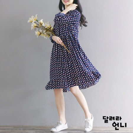 ネイビー花ワンピースなみなみと気持ちよくなるワンピースkorea fashion style