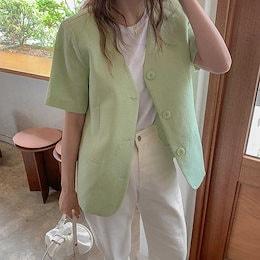 半袖のコットンとリネンのジャケット