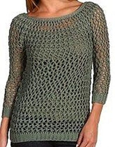 Theory Dancer Knit Sweater Small Grey Moss Green