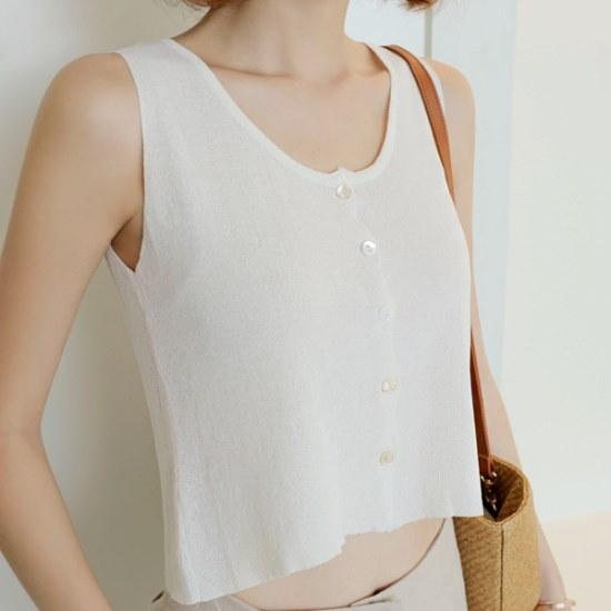 ウィドゥイプン・クロップボタン・ニット ニット/セーター/ニット/韓国ファッション