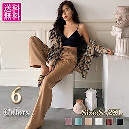 【6color】サテンワイドパンツ★サラッとした素材感 ゆったりサイズで涼しい カジュアルにもエレガントにも色々な着こなしが楽しめる シーズンレスアイテム 韓国ファッション【送料無料】