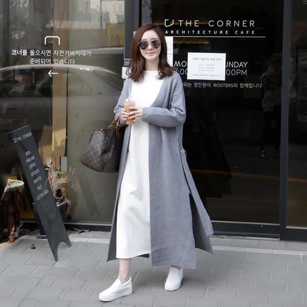 量開けたこと、ロングカディゴン2color 女性ニット/カーディガン/韓国ファッション