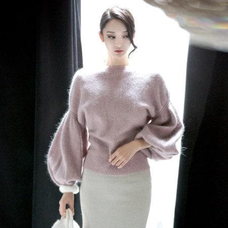 【ディントゥ] E1682グローアンゴラパフニットトップkorea fashion style
