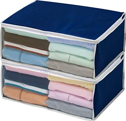 アストロ 収納ボックス 衣類用 2個組 ネイビー 不織布 131-34