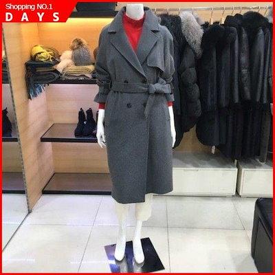 [シーズ・ミス]トレンチ型一(チェイル)毛織のロングコート(SWWHCI41160/メルランジグレー) /ポコート/コート/韓国ファッション