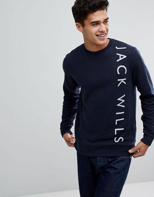 Jack Wills Abingdon Lightweight Graphic Sweatshirt in Navy