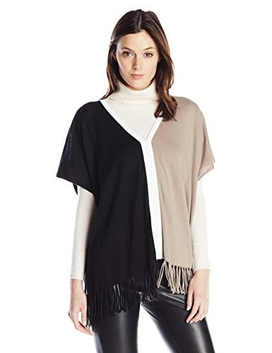 525 America Womens Fringe Color Block Poncho Top, Black Combo, One Size