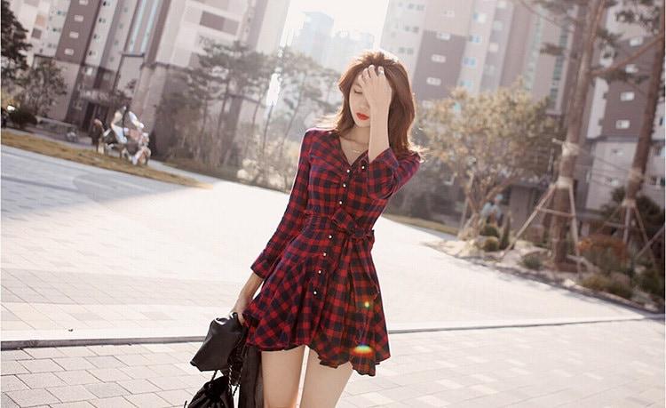 チェックシャツ シャツワンピ ワンピース ドレス 長袖 ワンピ 韓国 ファッション レッド 赤 大人 可愛い シングル コットン シャツ プリーツ 襟 ミニスカ チュニック スカート ストリート セクシー カジュアル ゆるカジ リボン (60-94) ※納期に10日から14日ほどかかります。