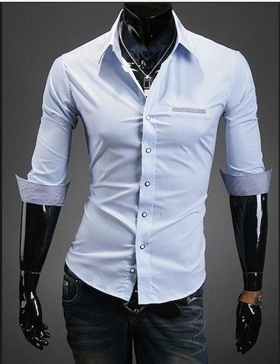 メンズファッションスリム第五スリーブシャツライトブルーのシャツ
