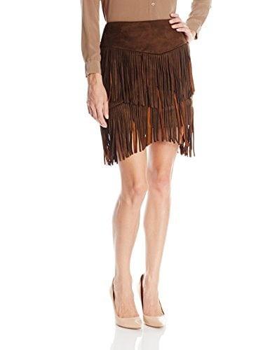 Ark & Co Womens Faux Leather Fringe Skirt, Brown, Medium