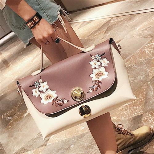 欧米スタイル配色花柄ハンドバッグ