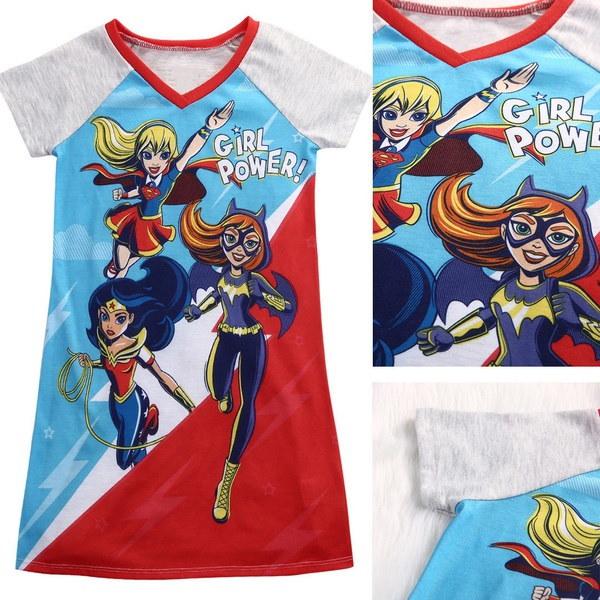 5-14歳スーパーヒーローパワーガールキッズショートスリーブトップコットンドレスパーティードレス