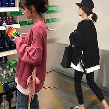 【V261】秋と冬の韓国ファッション 上着 シンプル  パーカー トップス カットソー スウェット 長袖 無地 体型カバー 着痩せ レディースファッション