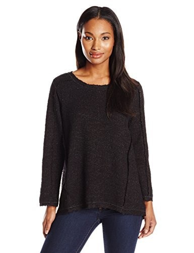 Nic+Zoe Womens Shimmering Shadows Top, Black Mix, Large