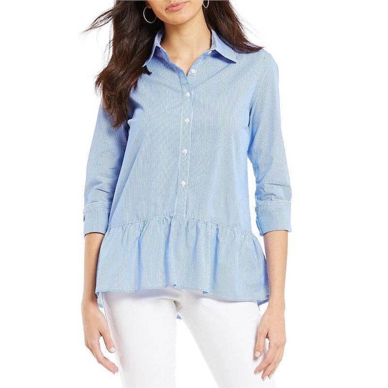 ウエストバウンド レディース トップス ブラウス・シャツ【Westbound Petites Button Front Peplum Shirt】French Blue Stripe