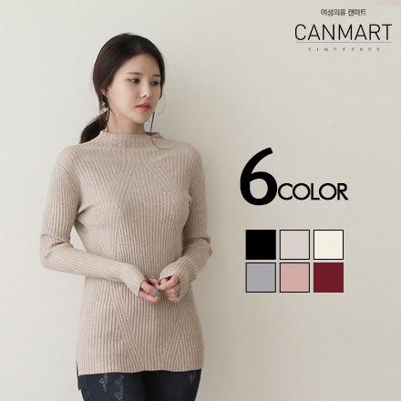 [CANMART]バニスパンリブニット★韓国ファッション★ C121411 肌触りのいい リブ編みニット ストレッチが効いていて 楽チン