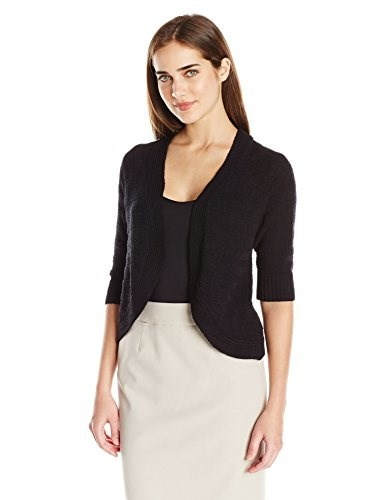 Calvin Klein Womens Striped Texture Shrug, Black, X-Large
