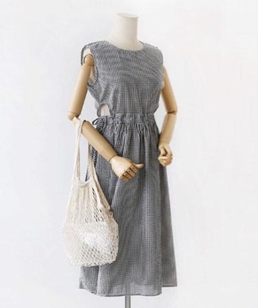 慇懃セクシー腰ひらきノースリーブチェックロングワンピース30338デイリールックkorea women fashion style