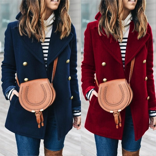 女性のヴィンテージラペルトレンチコートダブルブレストウールジャケット