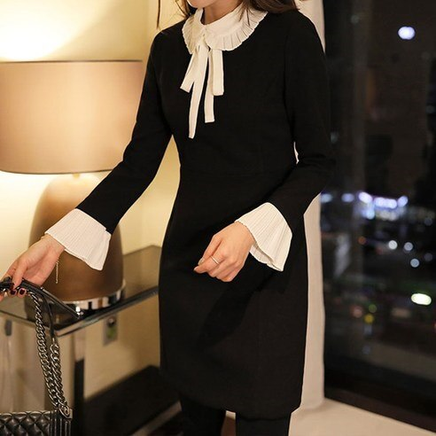 [ClicknFunny] Ribbon Tie Dress OP4349 Midi Dress (knee length) Korean fashion style