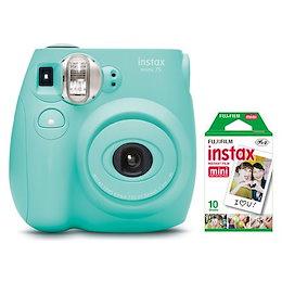 【送料無料】Fujifilm チェキ Instax Mini 7S インスタントカメラ(10パックフィルム付き)-シーフォームグリーン/Seafoam Green