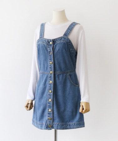 かわいいボタンポケット身体デニムサスペンダーワンピース40783デイリールックkorea women fashion style