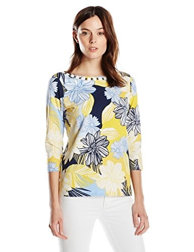 "Ruby Rd. Womens Boat Neck "" Graphic Line Floral""  Print Knit Top, Bluebell Multi, Medium"