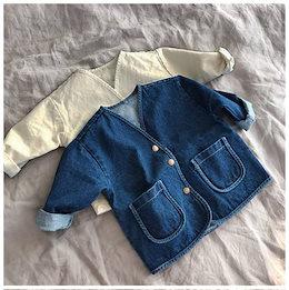 2019年秋の韓国の子供服、男の子と女の子のファッション緩いシンプルデニムジャケット