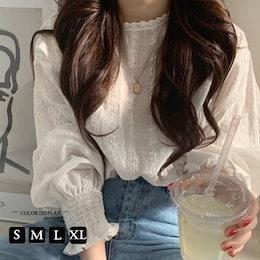 【3枚ことに200円割引】韓国ファッションTシャツツ ブラウス 半袖 レースレディース フリル ホワイト  スタンドカラー かわいい 韓国ファッション ビジネス カジュアル
