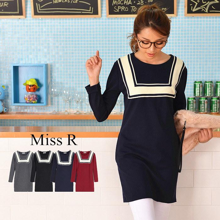 【Miss R PINK】 ライン入り ラウンドネック 長袖ワンピース 秋冬 (4色)【ミスアール】