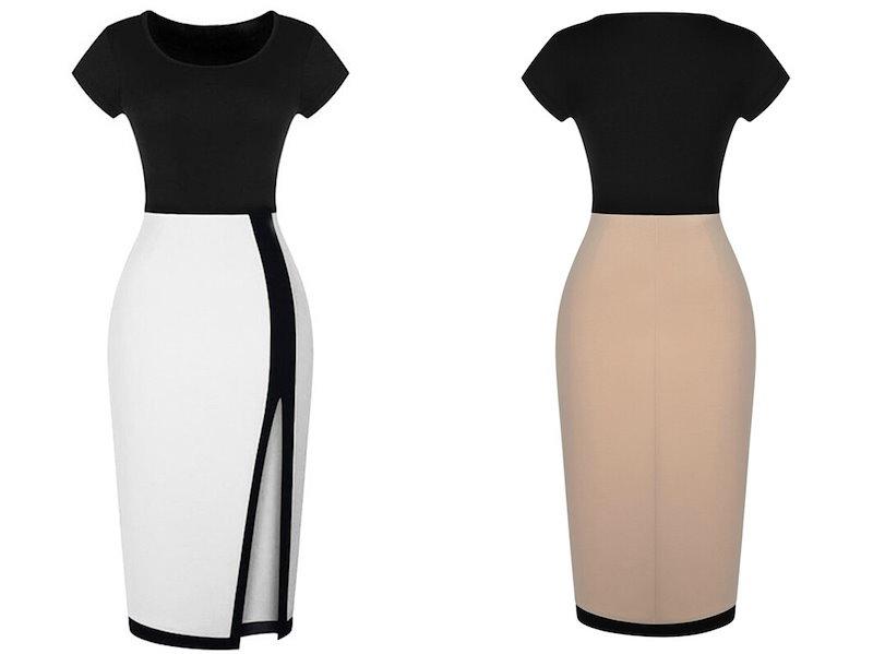 ◆ASM2015S/S◆elegant woman Hepburn◆ブラック+ホワイト ワンピース 上品ひざ丈半袖 セクシーワンピース
